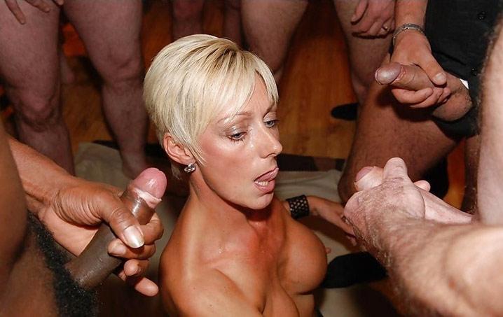 virginie milf blonde accroc au gangbang